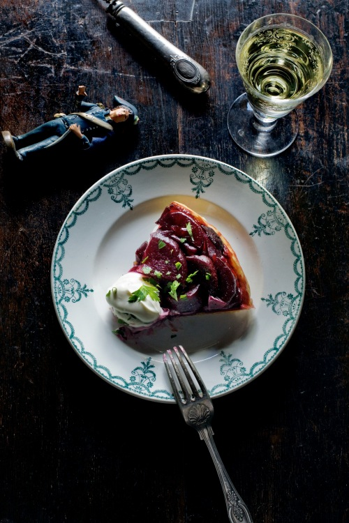 Beetroot tarte tatin slice